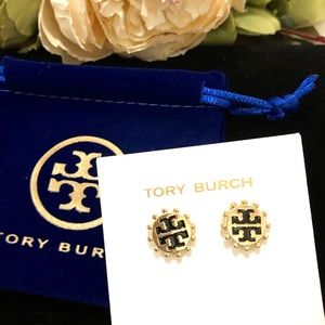 TORY BURCH gold and black logo stud earrings NWT